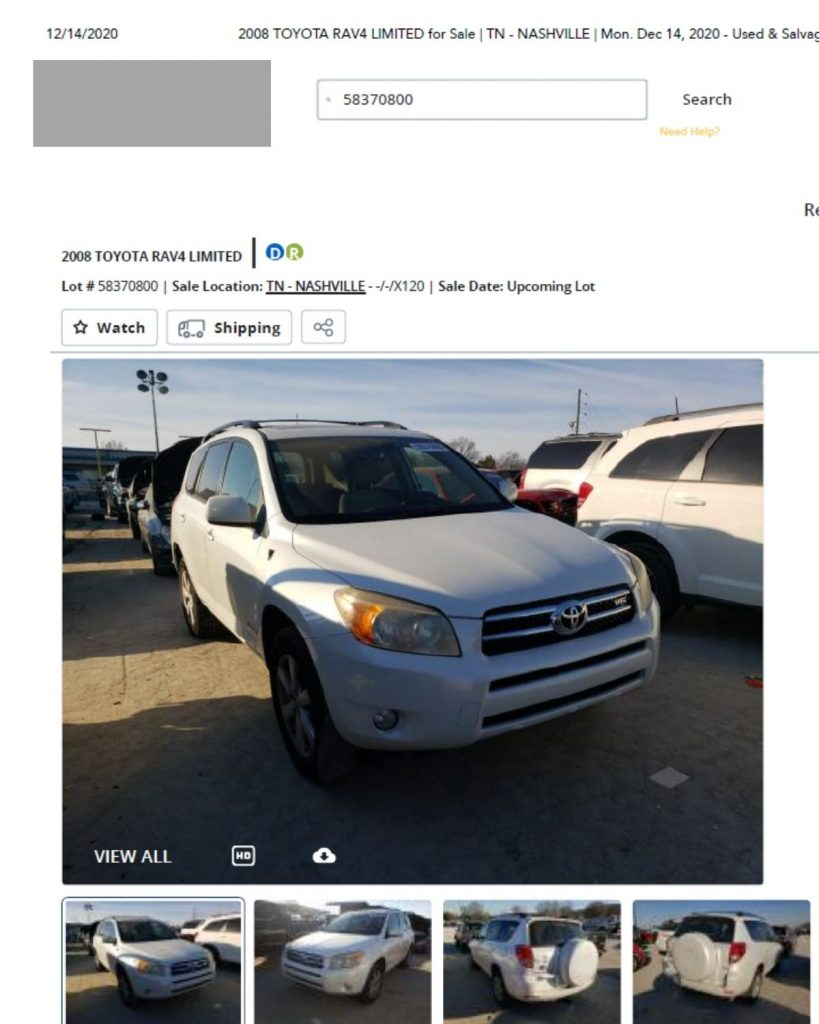 Screenshot of donated vehicle listed in auction company website.
