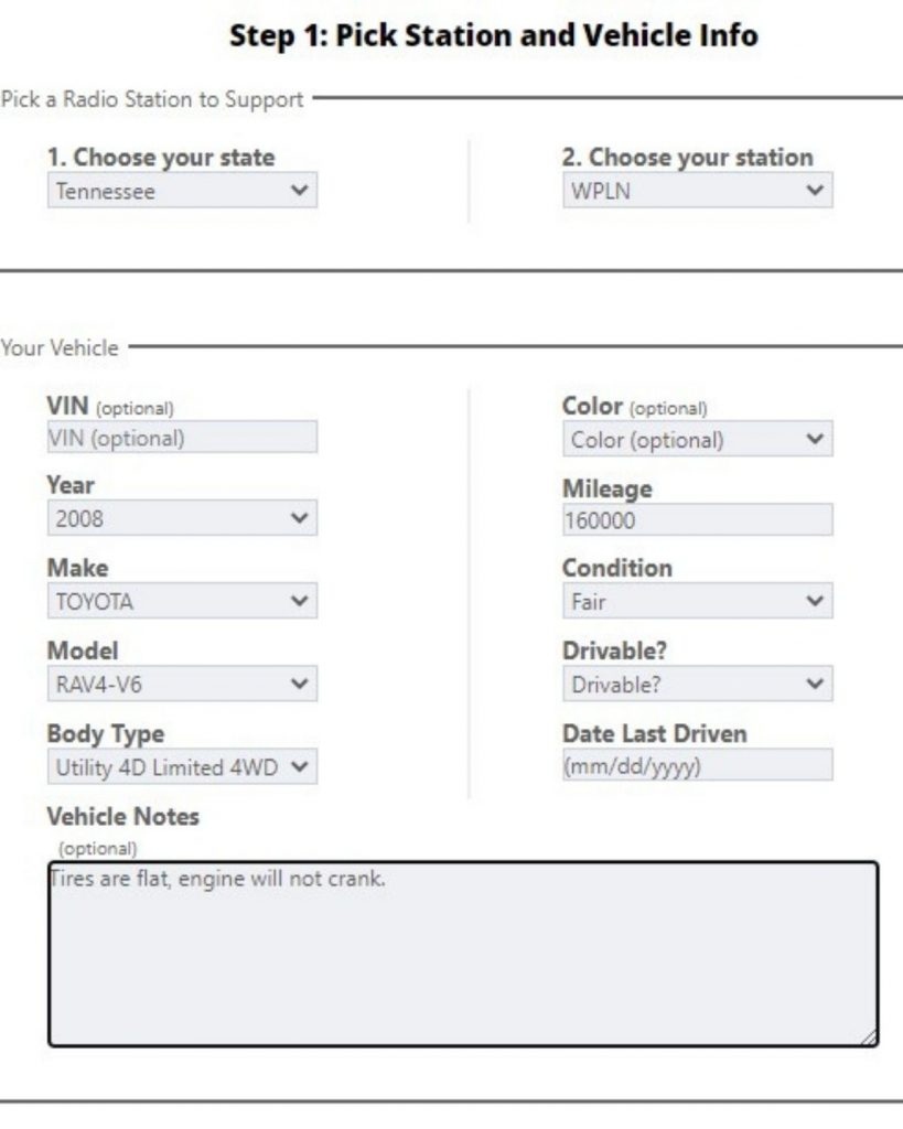 A screenshot of submission form to donate your car to NPR.